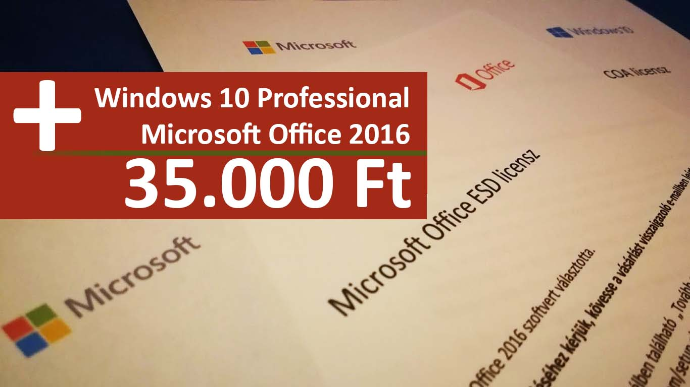Windows 10 és Office 2016 licensz akció!